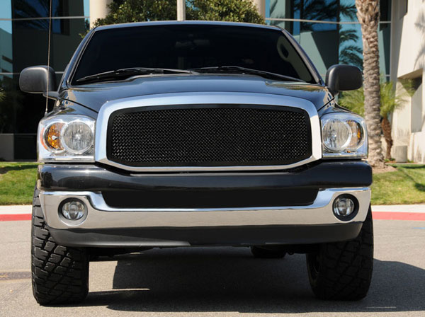 T-Rex 51459:  Dodge Ram PU 2006 - 2008 Upper Class Mesh Grille - 1 Pc Full Open (Requires cutting factory cross bars in OE grille) - All Black
