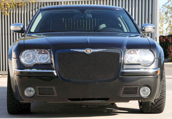 T-Rex 51470:  Chrysler 300 (All) 2005 - 2010 Upper Class Mesh Grille - All Black (Has mounting holes for OE Chrysler Logo P/N 1-04805797AA - Logo sold separately)