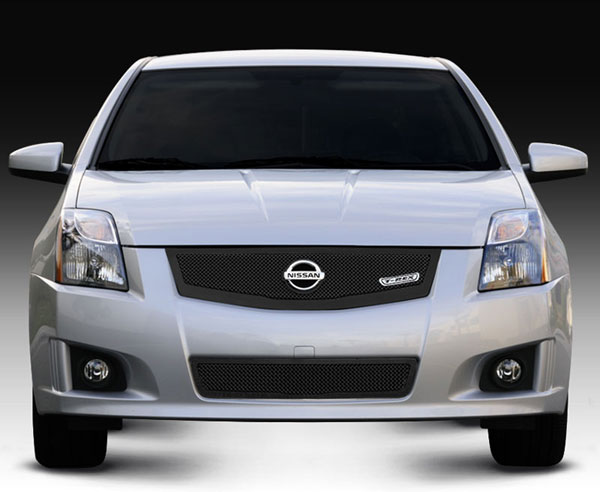 T-Rex 51765:  Nissan Sentra 2.0 SR, SE-R 2008 - 2012 Upper Class Mesh Grille w/ logo plate, fits vehicles w/ Sport Grille and Sport fascia - All Black