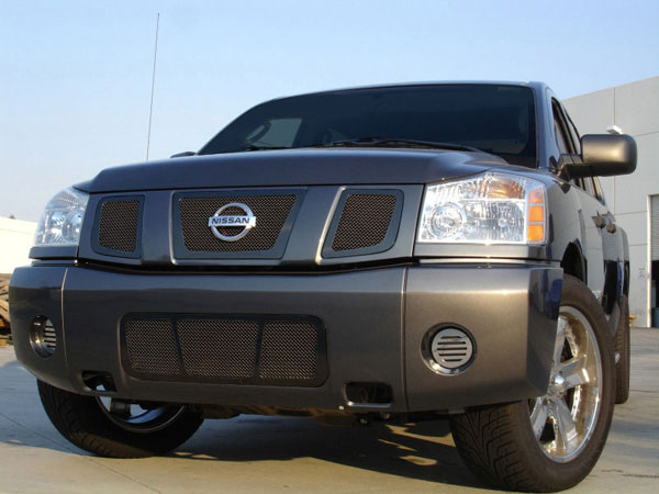 T-Rex 51781:  Nissan Titan 2008 - 2012 Upper Class Mesh Grille - All Black - 3 Pc w/ Logo Opening