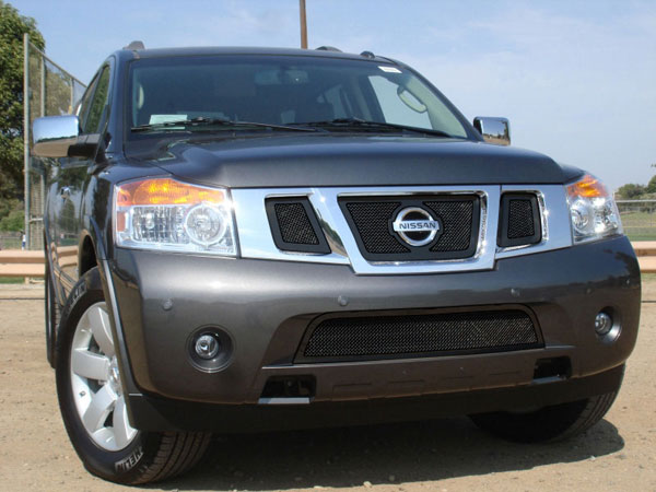 T-Rex (51782)  Nissan Armada 2008 - 2012 Upper Class Mesh Grille - All Black - 3 Pc w/ Logo Opening