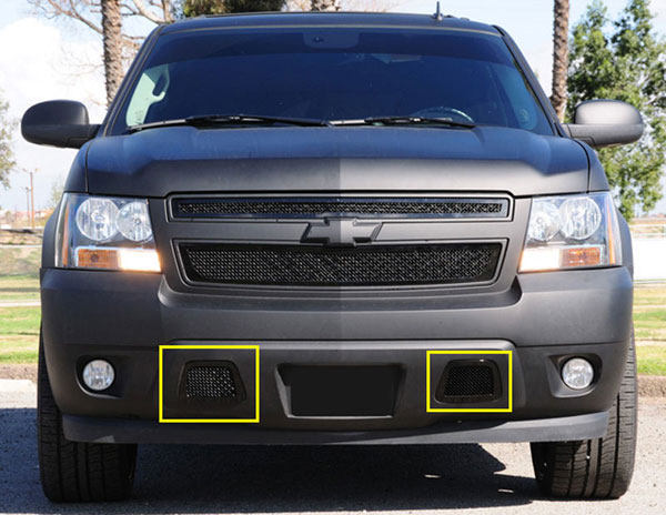 T-Rex 52051:  Chevrolet Tahoe, Suburban, Avalanche (Except Z71) 2007 - 2013 Upper Class Bumper Mesh Grille - All Black - 2 Pc kit covers tow hook openings