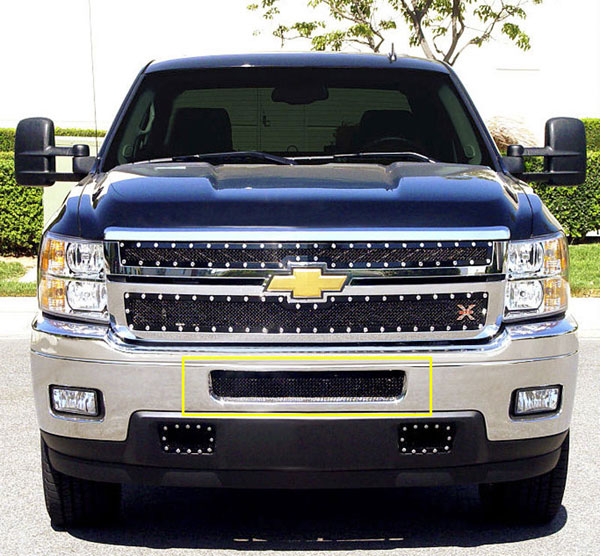 T-Rex 52114:  Chevrolet Silverado HD 2011 - 2012 Upper Class Mesh Bumper Grille - Top steel bumper opening - All Black (Mesh Only - No Frame)