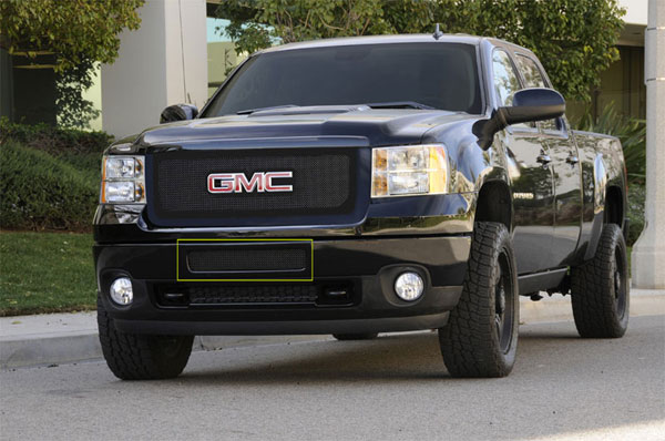 T-Rex (52209)  GMC Sierra 2500HD, 3500 2011 - 2012 Upper Class Polished Stainless Bumper Mesh Grille - Top steel bumper opening - All Black (Mesh Only - No Frame)