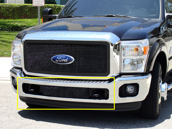 T-Rex 52546:  Ford Super Duty 2011 - 2012 Upper Class Bumper Mesh Grille - Between Tow Hooks (Mesh Only - No Frame) - All Black Powdercoat