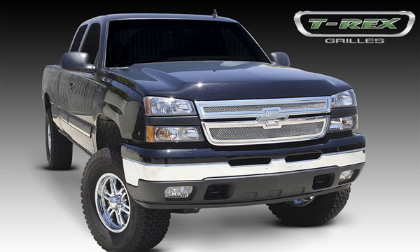 T-Rex 54106 |  Chevrolet Silverado 3500 2500HD, (All Models) - Upper Class Polished Stainless Mesh Grille - 2 Pc Style; 2005-2006