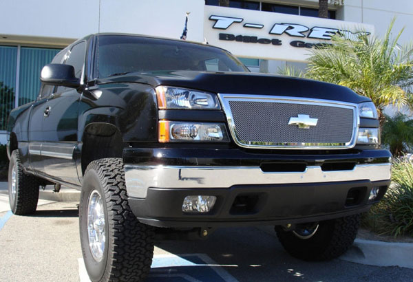 T-Rex 54107 |  Chevrolet Silverado 3500 2500HD, (All Models) - Upper Class Polished Stainless Mesh Grille - 1 Pc Grille - Includes Billet End Caps (Cut center cross bar); 2005-2006