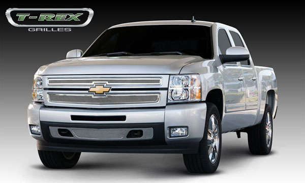 T-Rex (54110)  Chevrolet Silverado 1500 2007 - 2013 Upper Class Polished Stainless Mesh Grille - 2 Pc Style