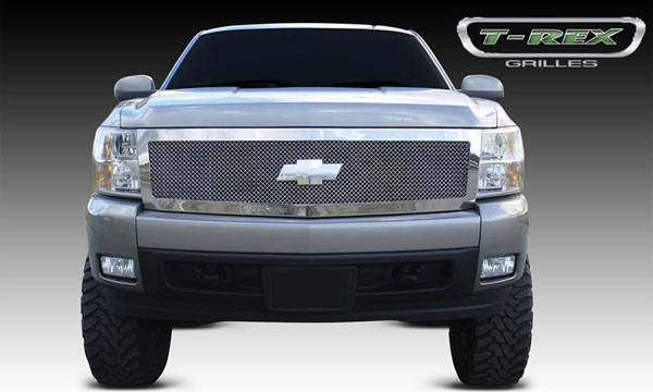 T-Rex 54111:  Chevrolet Silverado 1500 2007 - 2013 Upper Class Polished Stainless Mesh Grille - 1 Pc Style (Replaces OE Grille)