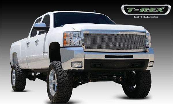 T-Rex 54113:  Chevrolet Silverado HD 2007 - 2010 Upper Class Polished Stainless Mesh Grille - 1 Pc Style (Replaces OE Grille)