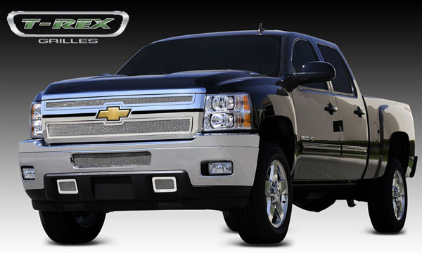 T-Rex (54114)  Chevrolet Silverado HD 2011 - 2012 Upper Class Polished Stainless Mesh Grille - 2 Pc Style