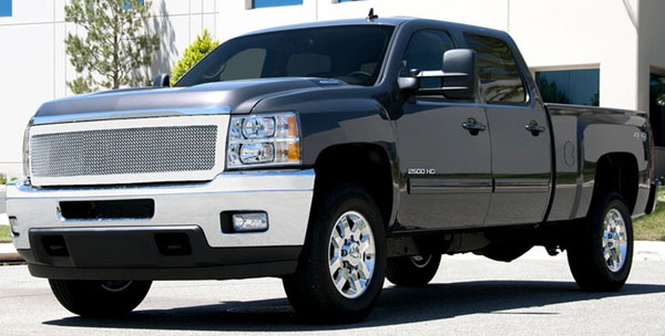 T-Rex 54115:  Chevrolet Silverado HD 2011 - 2012 Upper Class Polished Stainless Mesh Grille - 1 Pc Style (Replaces OE Grille)