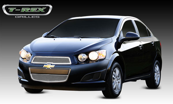 T-Rex 54132:  Chevrolet Sonic 2012 - 2013 Upper Class Polished Stainless Mesh Grille - 2 Pc