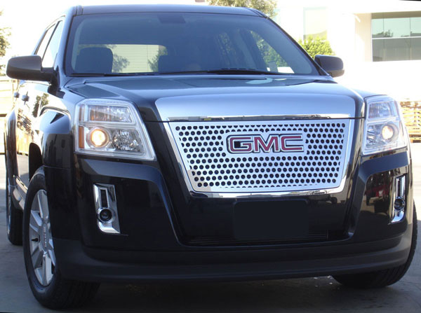 T-Rex 54154:  GMC Terrain 2010 - 2012 Denali Style Stainless Steel Grille with Round Holes - Overlay w/ Logo Opening