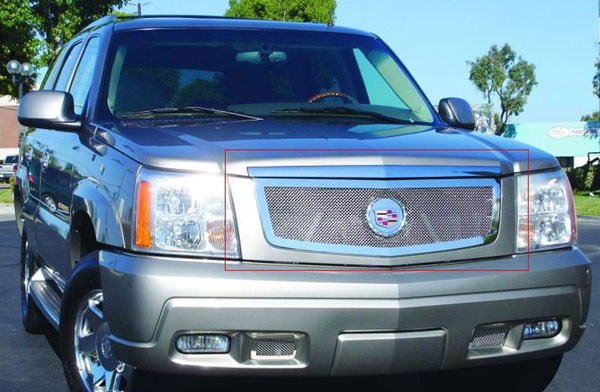 T-Rex 54182 |  Cadillac Escalade, EXT, ESV - Upper Class Polished Stainless Mesh Grille with Recessed Logo Area - Includes Polished Logo Plate to Re-Install OE Cadillac Grille Emblems; 2002-2006