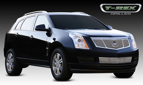 T-Rex 54187:  Cadillac SRX 2010 - 2013 Upper Class Mesh Grille, Replacement, 3 Window Design, w/ OE Logo Plate, Polished
