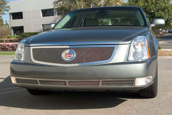 T-Rex 54188:  Cadillac DTS 2006 - 2011 Upper Class Polished Stainless Mesh Grille with Recessed Logo Area - Includes Polished Logo Plate to Re-Install OE Cadillac Grille Emblems