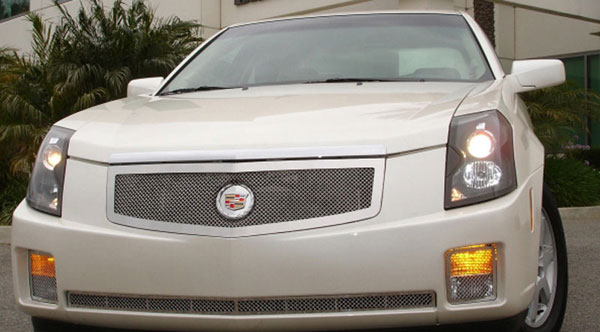 T-Rex 54190:  Cadillac CTS 2003 - 2007 Upper Class Polished Stainless Mesh Grille with Recessed Logo Area - Includes Polished Logo Plate to Re-Install OE Cadillac Grille Emblems