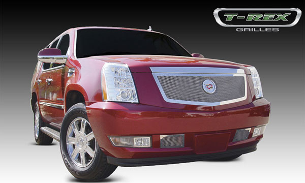 T-Rex 54193:  Cadillac Escalade, EXT, ESV 2007 - 2012 Upper Class Polished Stainless Mesh Grille with Recessed Logo Area - Includes Polished Logo Plate to Re-Install OE Cadillac Grille Emblems