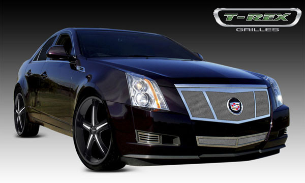 T-Rex 54198 |  Cadillac CTS - Upper Class Polished Stainless Mesh Grille - 3 Opening Design -Formed Mesh w/ Recessed Logo Area - Includes Polished Logo Plate to for OE Emblems; 2008-2011