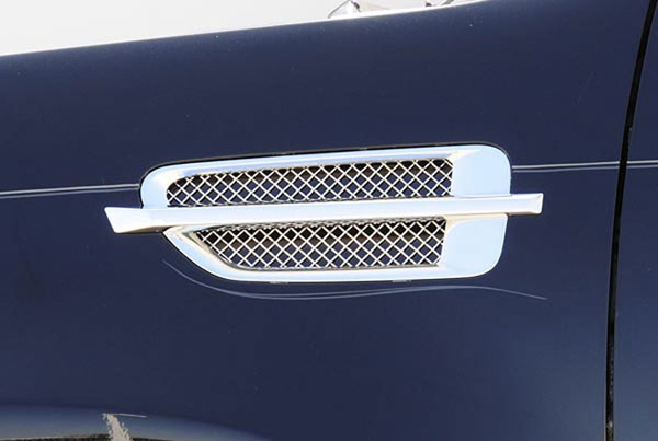 T-Rex 54199:  Cadillac Escalade, EXT, ESV 2007 - 2012 Side Vent Mesh - Polished Stainless Steel - Mesh Inserts install into OE Side Vent Housings - 2 Pc (Includes Black backing plates