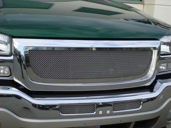 T-Rex 54200    GMC Sierra (All Models except C3) - Upper Class Polished Stainless Mesh Grille; 2003-2006