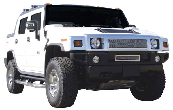 T-Rex (54290)  Hummer H2 2003 - 2007 Upper Class Polished Stainless Mesh Grille - With Formed Mesh Center