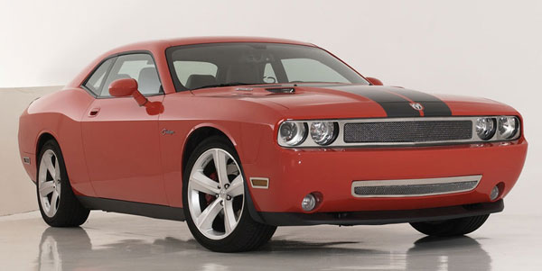 T-Rex 54415:  Dodge Challenger (ALL) 2009 - 2012 Upper Class Polished Stainless Mesh Grille - Full Opening (Area around Headlights is exposed for street use) - With Formed Mesh Center