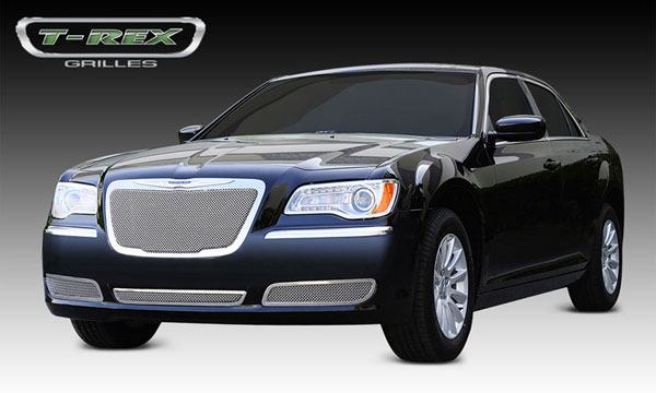 T-Rex 54433:  Chrysler 300 (All) 2011 - 2013 Upper Class Polished Stainless Mesh Grille - With Formed Mesh Center - OE Logo installs on top of grille