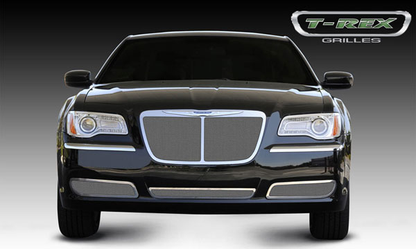T-Rex 54434:  Chrysler 300 (All) 2011 - 2013 Upper Class Polished Stainless Mesh Grille - Bentley Style w/ Center Vertical Bar - OE Logo installs on top of grille