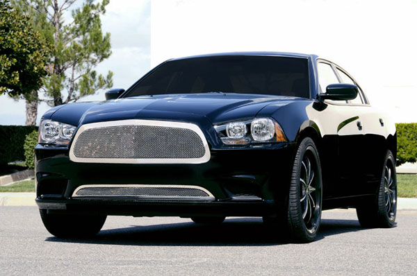 T-Rex 54441:  Dodge Charger 2011 - 2013 Upper Class Polished Stainless Mesh Grille - Full Opening - With Formed Mesh Center