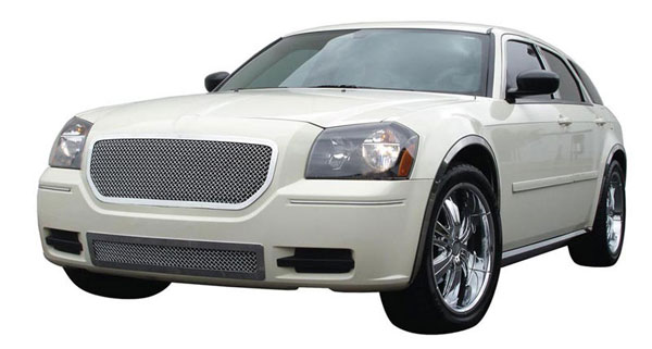 T-Rex 54473:  Dodge Magnum (Except SRT) 2005 - 2007 Upper Class Polished Stainless Mesh Grille - Custom Full Opening Style