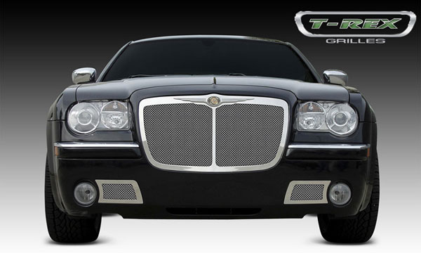 T-Rex 54479:  Chrysler 300 (All) 2005 - 2010 Upper Class Polished Stainless Mesh Grille - Bentley Style w/ Center Vertical Bar (Optional Chrysler Logo Emblem use Part # 19471 Sold Seperately)