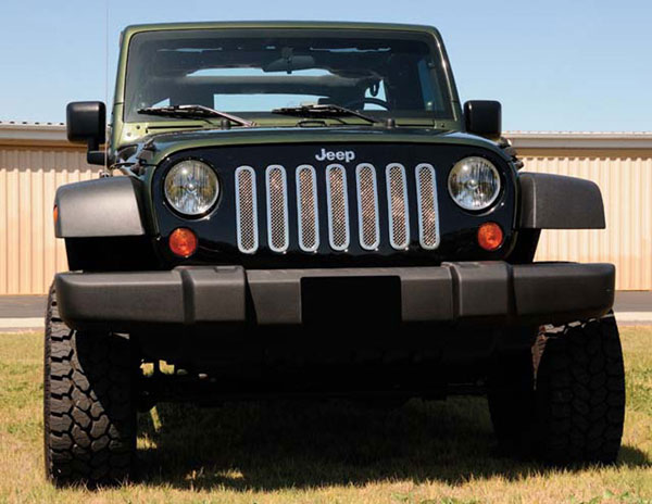 T-Rex 54481 |  Jeep Wrangler - Upper Class Polished Stainless Mesh Grille - 7 Pc; 2007-2013