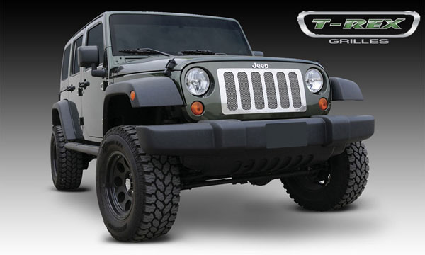 T-Rex 54482:  Jeep Wrangler 2007 - 2013 Upper Class Polished Stainless Mesh Grille - 1 Pc - 6 Opening Design - With Formed Mesh