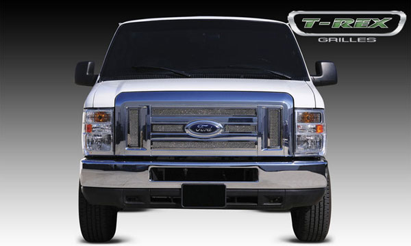 T-Rex (54501)  Ford Econoline XLT 2008 - 2011 Upper Class Polished Stainless Mesh Grille - 6 Pc