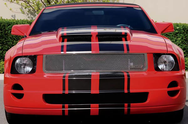T-Rex 54515:  Ford Mustang LX Models (Without Pony Package) 2005 - 2009 Upper Class Polished Stainless Mesh Grille - With Formed Mesh Center - No Mustang Logo