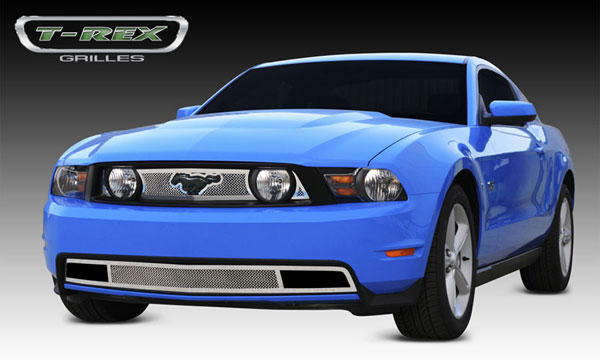 T-Rex 54519 |  Ford Mustang GT - Upper Class Polished Stainless Mesh Grille - With Formed Mesh - 3 Pc - with opening for OE Mustang Logo; 2010-2012