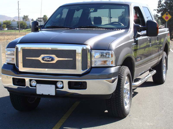 T-Rex (54561)  Ford Super Duty, Excursion (Except Harley Trucks) 2005 - 2007 Upper Class Polished Stainless Mesh Grille - W/ Optional Logo Plate