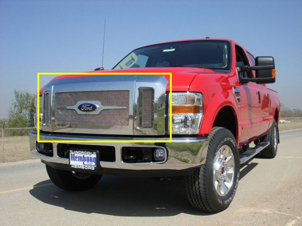 T-Rex 54563 |  Ford Super Duty (All Models) 2008 - 2010 Upper Class Polished Stainless Mesh Grille - 3 Pc