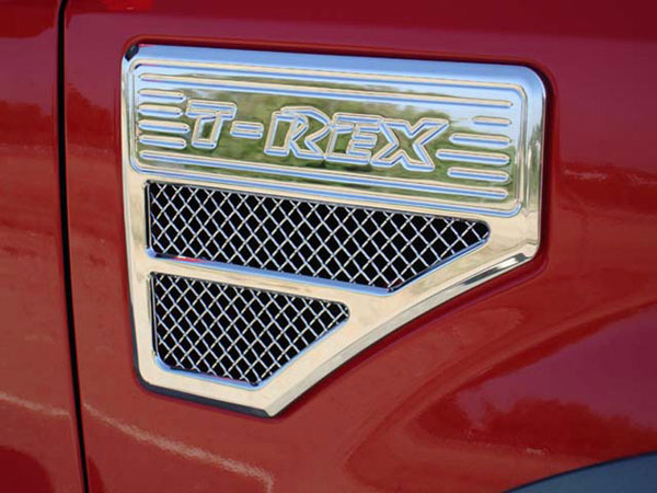 T-Rex 54564 |  Ford Super Duty (All Models) - Side Vent - Billet Chrome Plated - Universal Fender Mount - F250 Style; 2008-2010