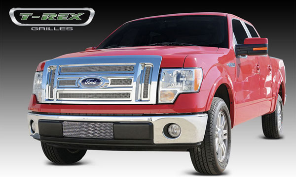 T-Rex 54569:  Ford F-150 Lariat / K. Ranch 2009 - 2012 Upper Class Polished Stainless Mesh Grille - 6 Pc - With Formed Mesh