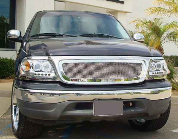 T-Rex 54580:  Ford F150 (All Models) 1999 - 2002 Upper Class Polished Stainless Mesh Grille - Full Opening - Fits All Models