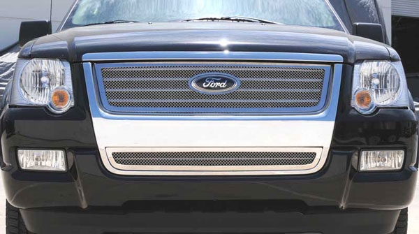 T-Rex 54659 |  Ford Explorer XLT & Limited - Upper Class Polished Stainless Mesh Grille w/ Logo Cut Out; 2006-2010