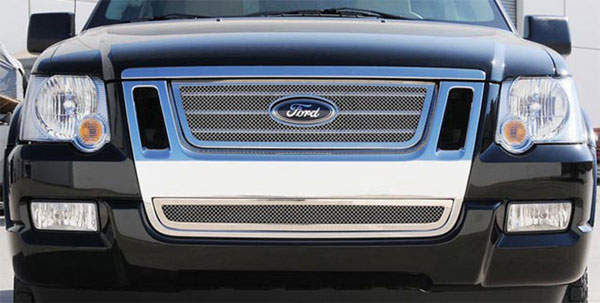 T-Rex 54662:  Ford Explorer Sport Trac 2006 - 2010 Upper Class Polished Stainless Mesh Grille w/ Logo Cut Out