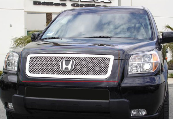 T-Rex 54709 |  Honda Pilot - Upper Class Polished Stainless Mesh Grille; 2006-2008