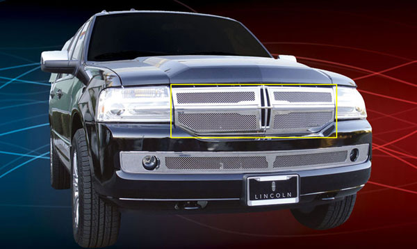 T-Rex 54712:  Lincoln Navigator 2007 - 2010 Upper Class Polished Stainless Mesh Grille - 4 Pc