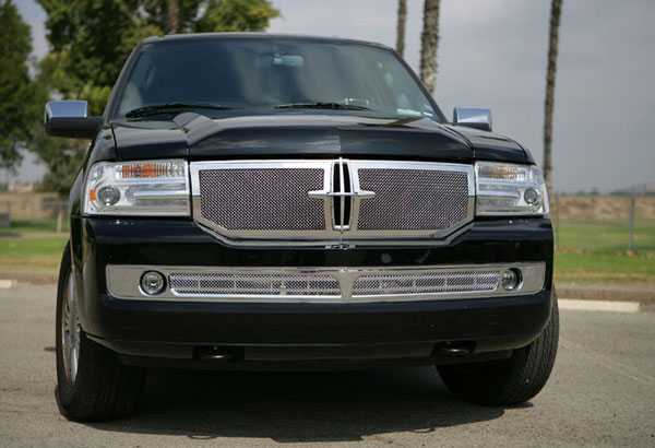 T-Rex 54713:  Lincoln Navigator 2007 - 2010 Upper Class Polished Stainless Mesh Grille (Formed Mesh) - 2 Pc (Requires cutting factory cross bar)