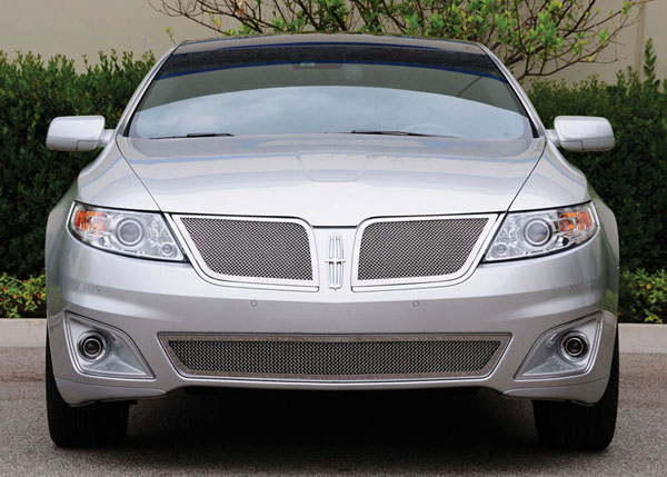 T-Rex 54718:  Lincoln MKS 2009 - 2011 Upper Class Polished Stainless Mesh Grille - With Formed Mesh Center - 2 Pc