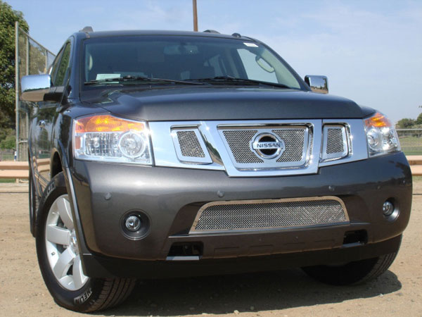 T-Rex 54782:  Nissan Armada 2008 - 2012 Upper Class Polished Stainless Mesh Grille - 3 Pc w/ Logo Opening